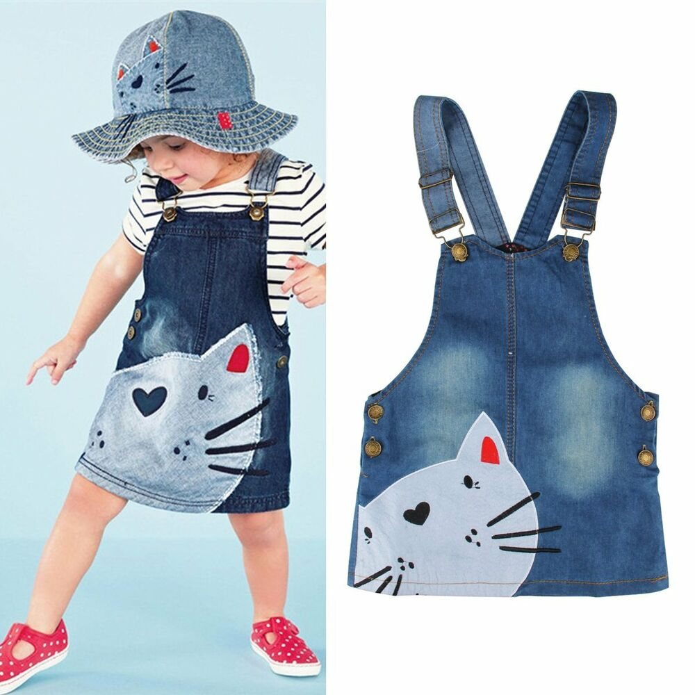 Toddler Baby Kids Girls Cute Cat Denim Jeans Overalls Dress Skirt Clothes 2-7Y | eBay