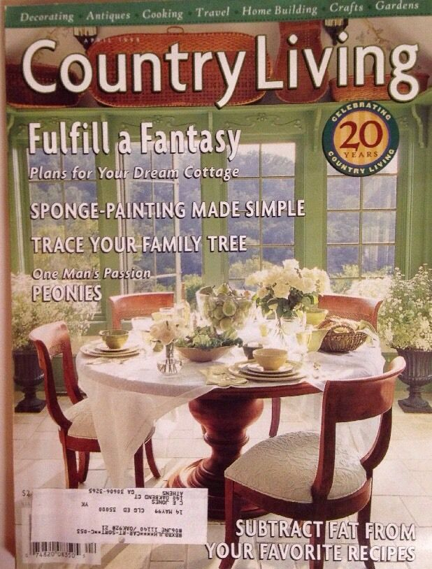 Country living magazine april 1998 vintage a fantasy for Country cottage magazine