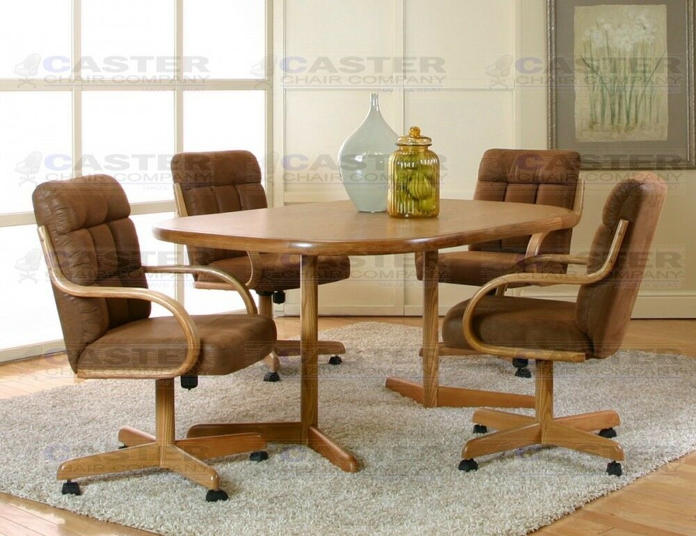 Caster Chair Company 5 Piece Caster Dining Set with Swivel ...
