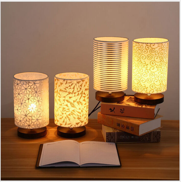 New 1pc wooden base table lamp study room bedside lamp for Room decor lamps