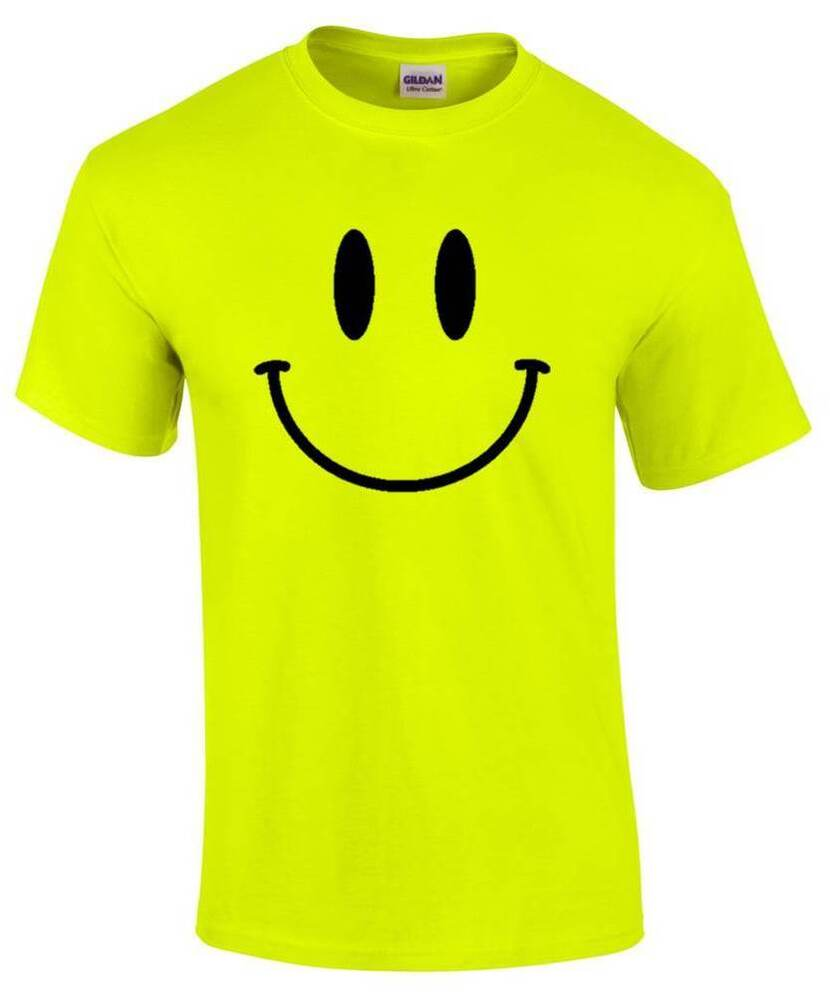 SMILEY FACE Mens Neon Yellow T-Shirt S-5XL Printed Rave ...