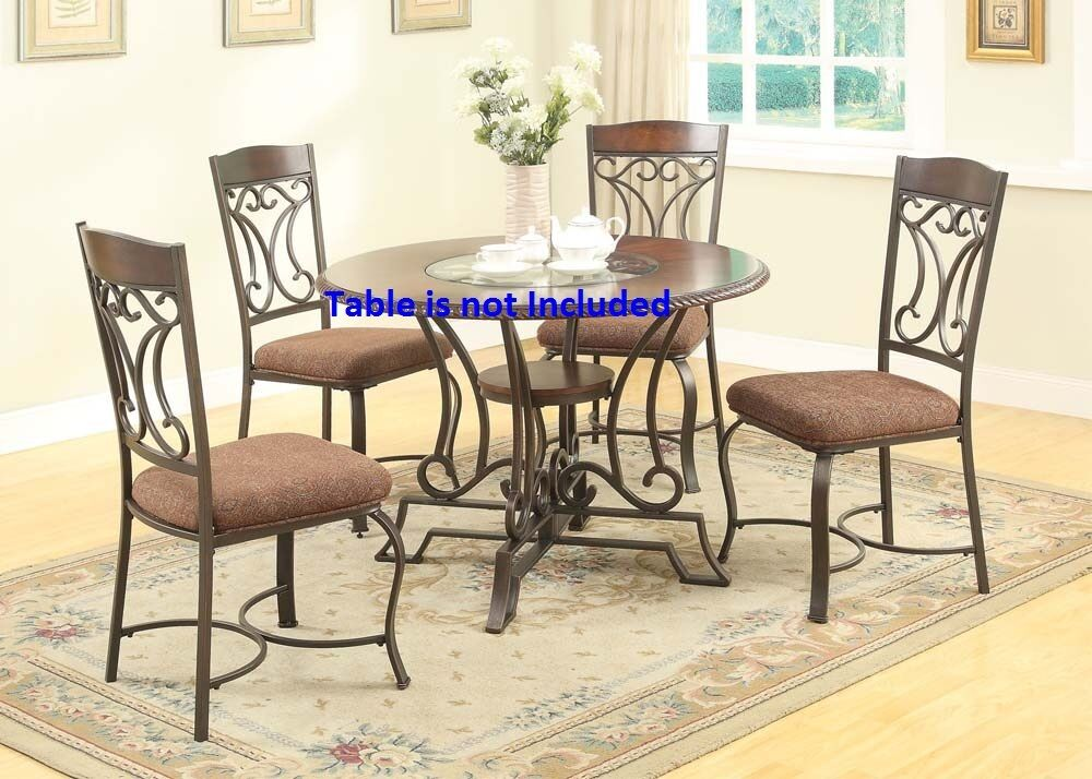 Forged Metal Dining Side Chairs Of Cushion Seat & Framed