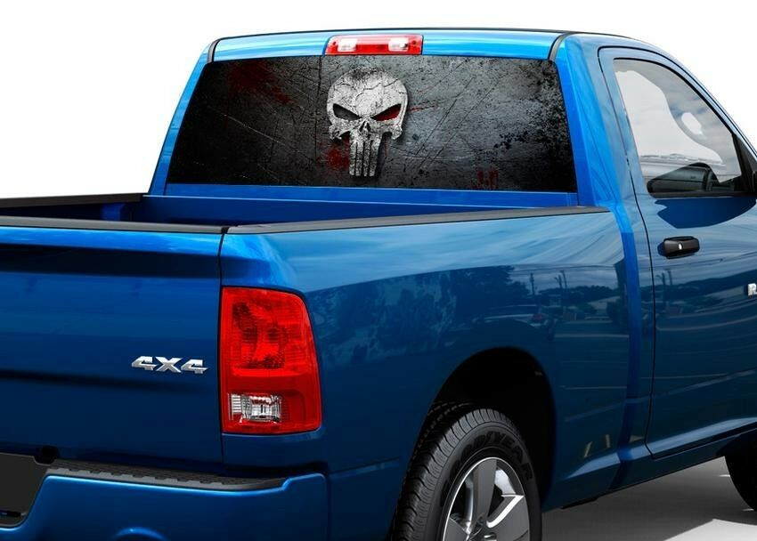 Punisher skull blood metal rear window decal sticker pick up truck suv car ebay