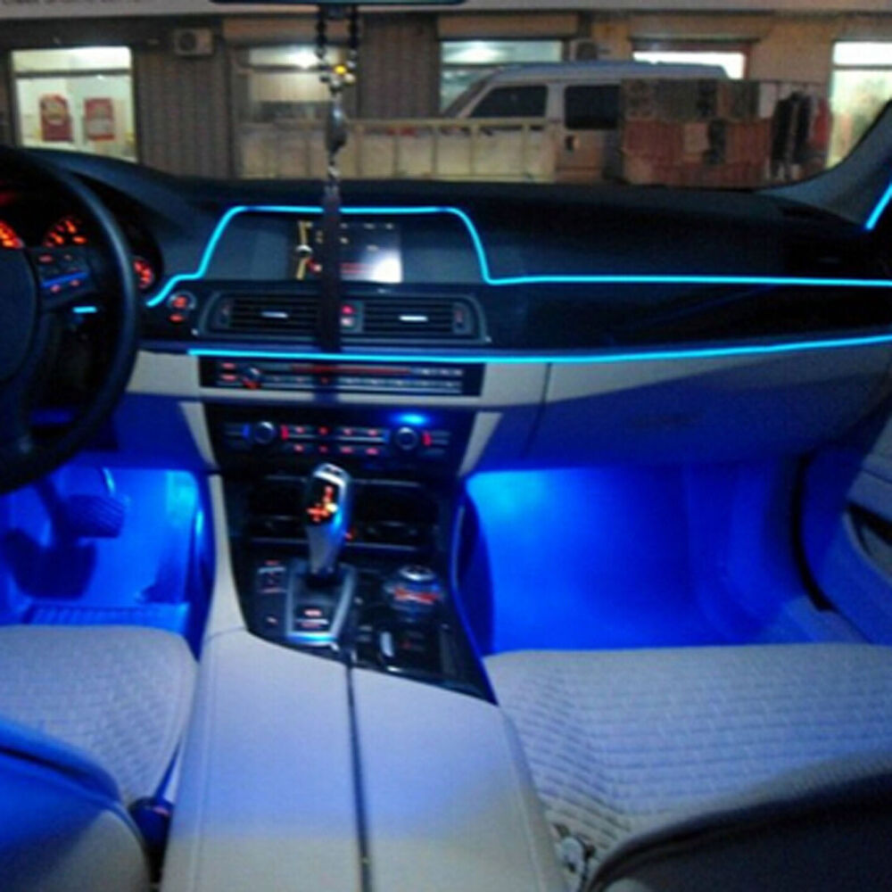 2m auto interior decorative led wire atmosphere cold light blue strip for audi ebay. Black Bedroom Furniture Sets. Home Design Ideas