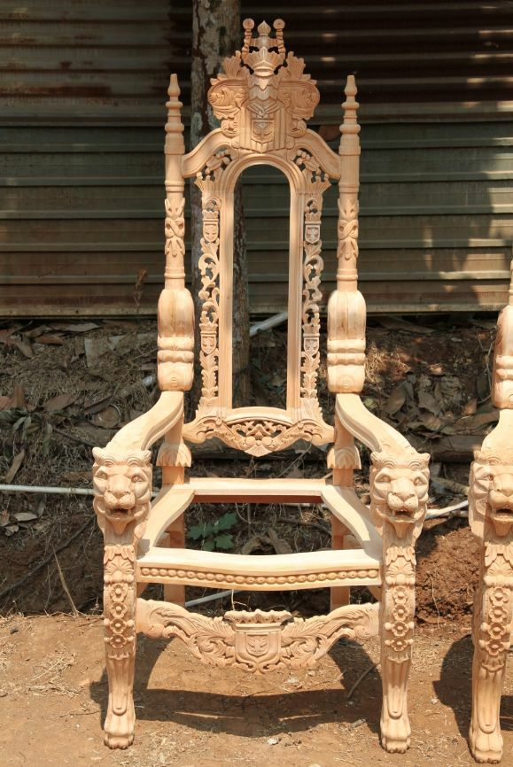 Raw Unpainted Lion King Gothic Throne Chair For Wedding