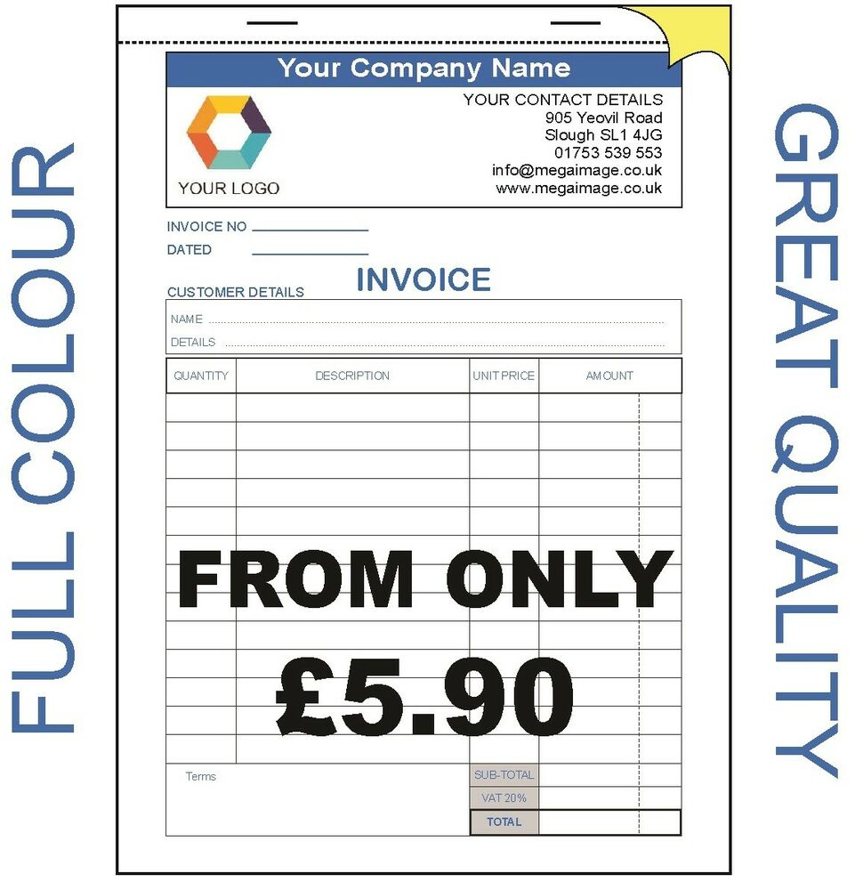 personalised a5 invoice book duplicate ncr receipt With personalised invoice books