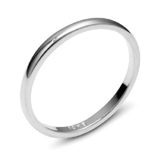 10K WHITE GOLD PLAIN COMFORT FIT WEDDING BAND MENS WOMEN RING SIZE 5 13