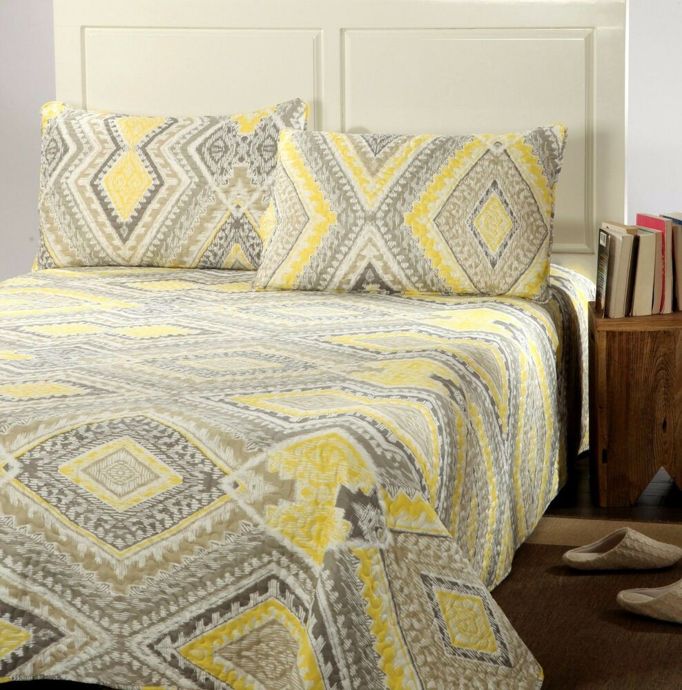Gray White Quilt : Tache modern yellow gray grey summer diamond reversible