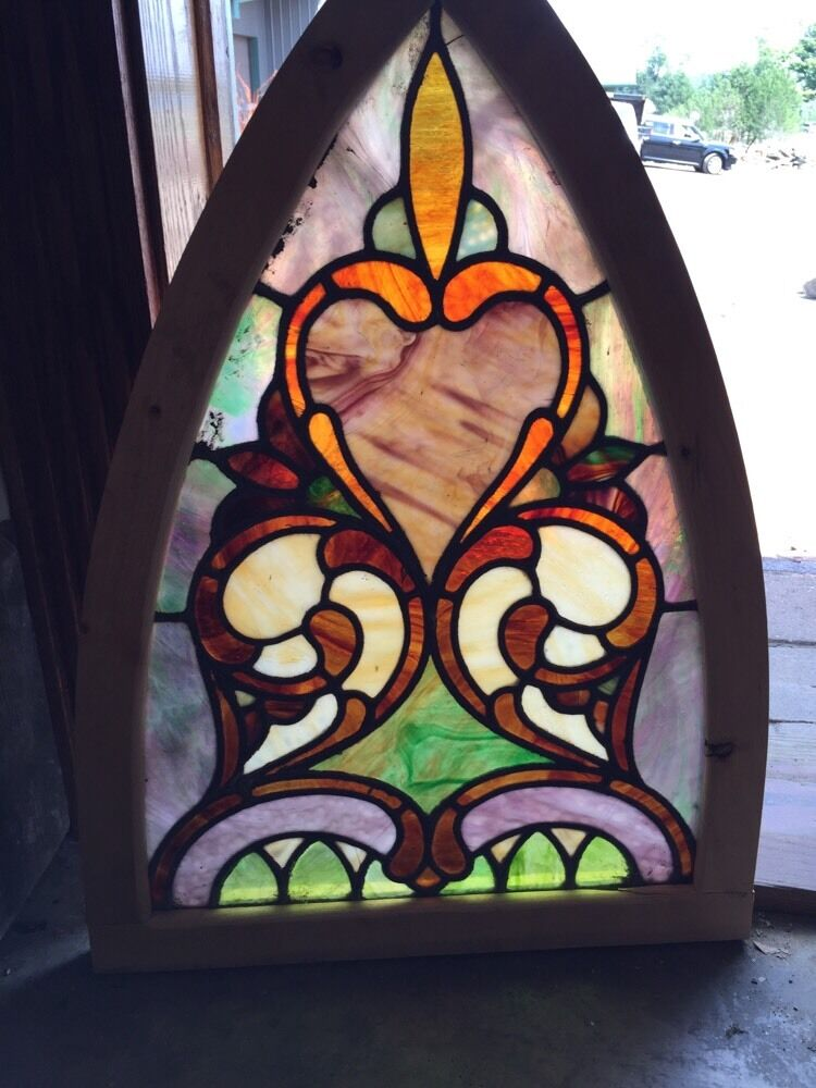 Sg 253 antique gothic arch stained glass window ebay for 1900 stained glass window