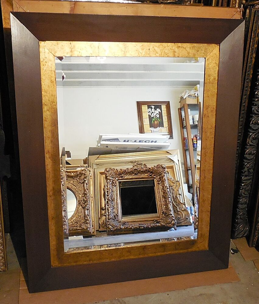 Large solid wood 44x54 rectangle beveled framed wall for Large framed mirrors for walls