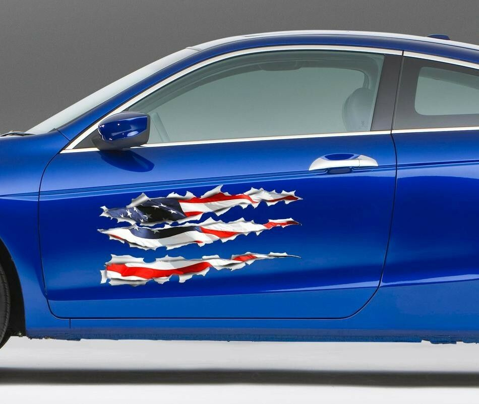 Pair American Flag Tears Rip Ripped Side Graphics Decal