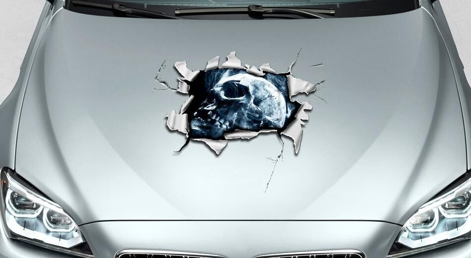Skull Hole In Hood Tears Rip Ripped Graphics Decal Sticker
