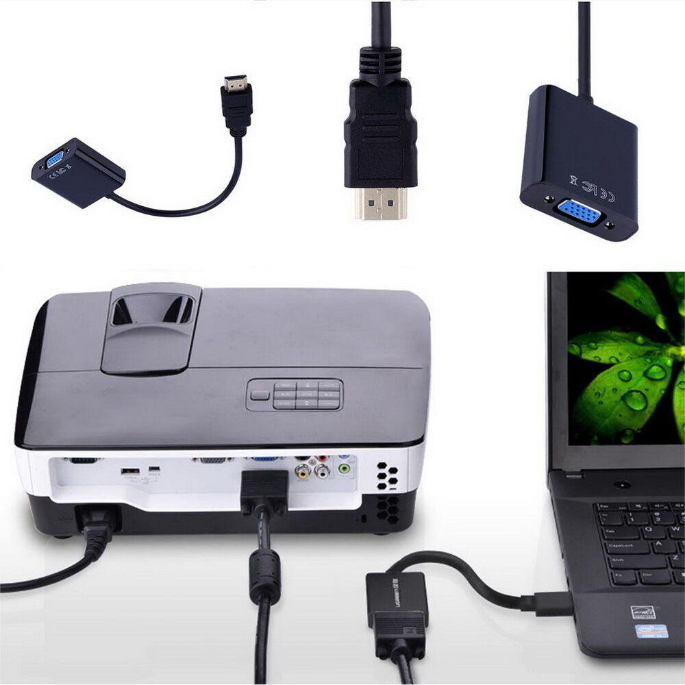 hdmi to vga converter adapter with audio cable for laptop pc dvd tv oe ebay. Black Bedroom Furniture Sets. Home Design Ideas