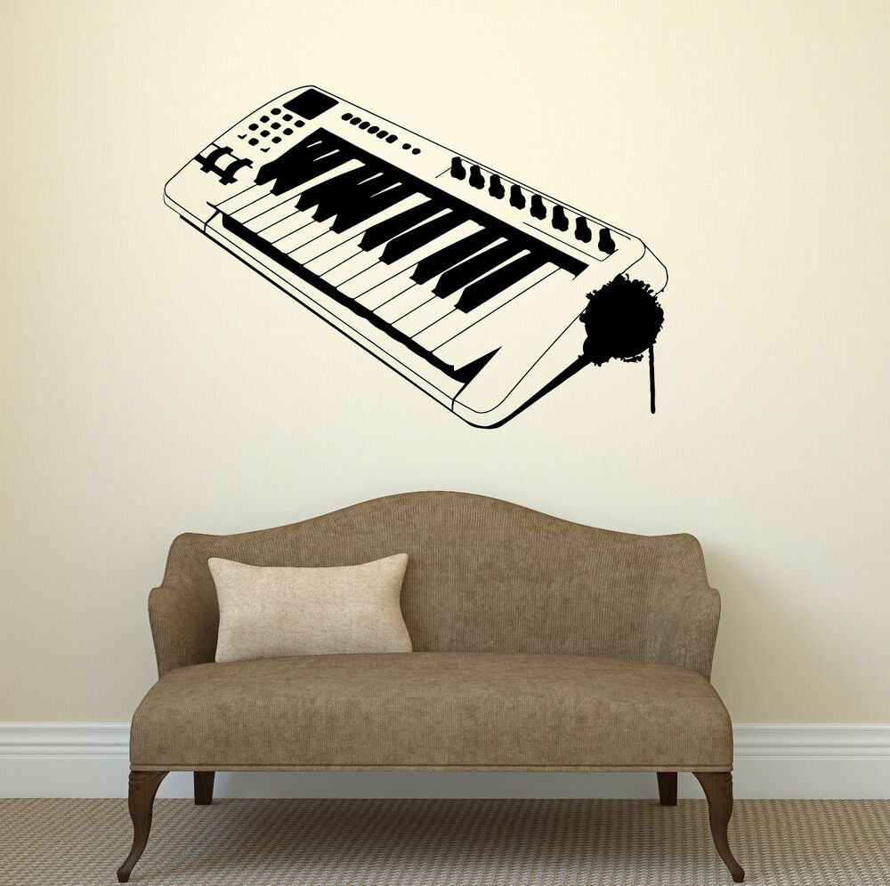 Electronic Musical Instruments : Wall decal electronic musical instrument piano music vinyl