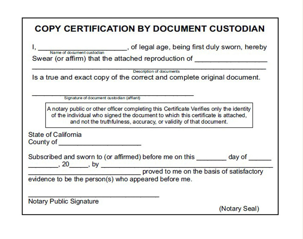 Copy Certification By Document Custodian Evo P140 Pre Inked Stock