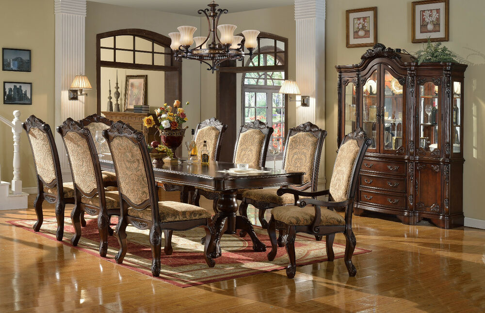 formal antique traditional 9p dining set table fabric fancy dark wood dining room sets home decor ideas cherry