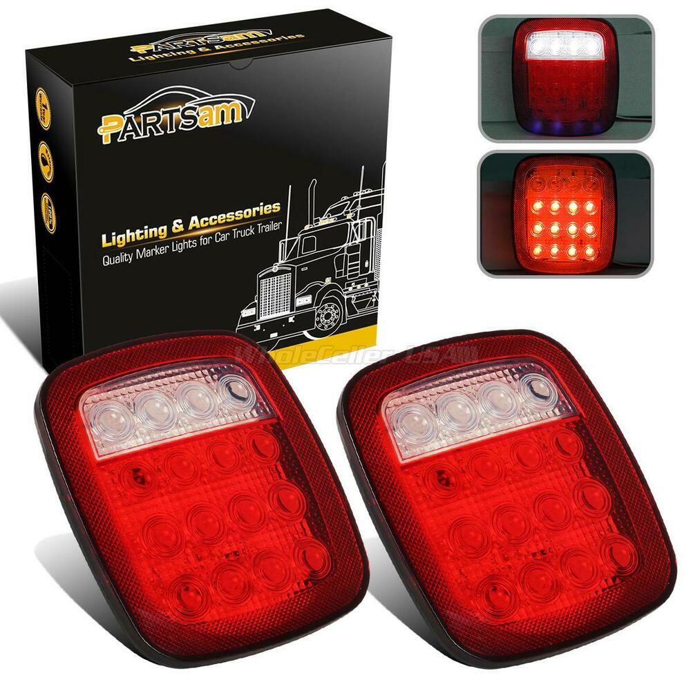 2x Truck Trailer Stud Mount Stop Turn Tail Back Up Light