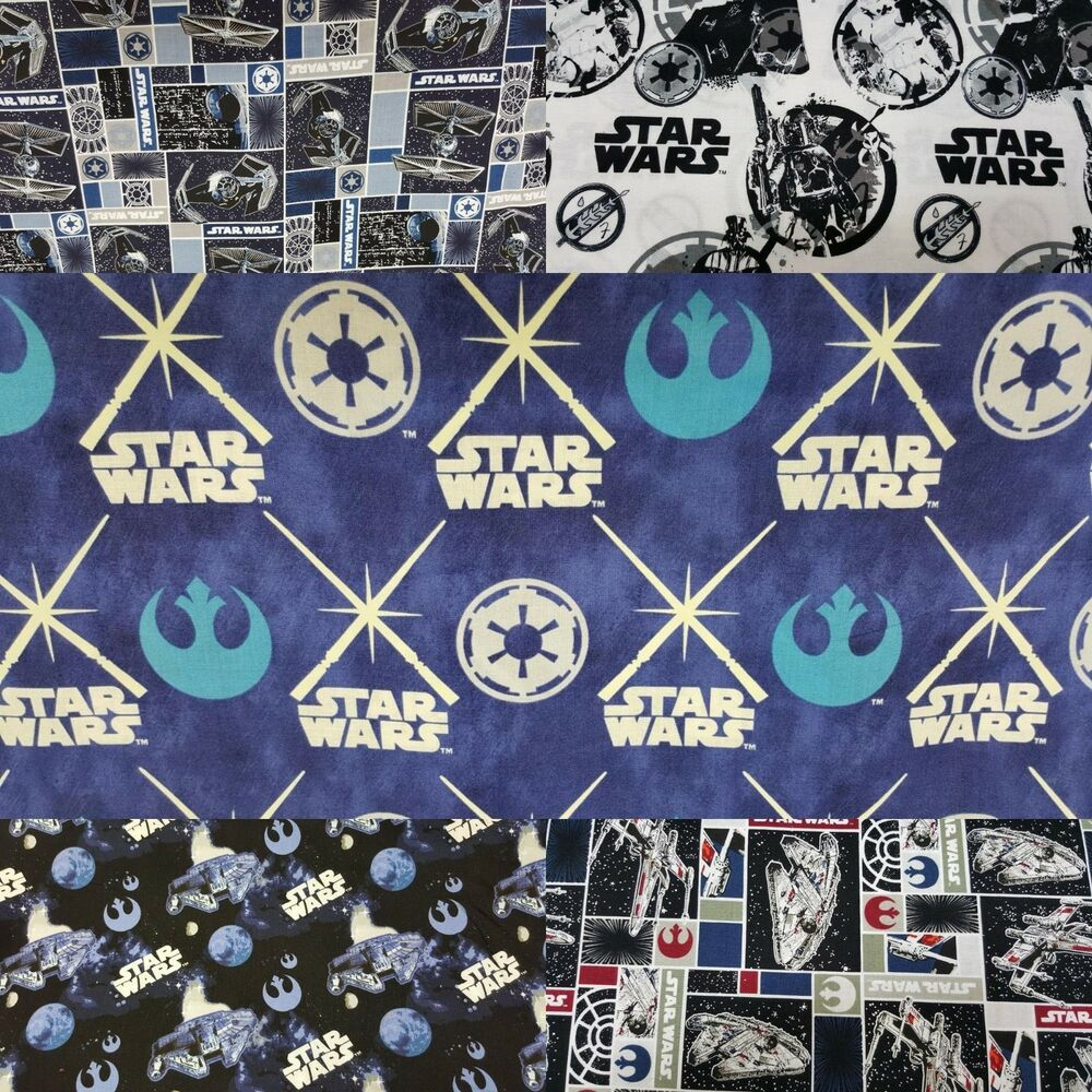 100 cotton star wars print fabric by the yard ebay for Star wars fabric