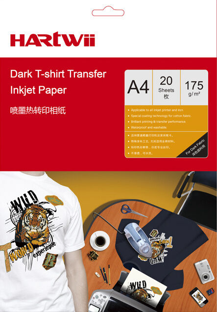 20 sheets a4 iron on t shirt transfer paper dark fabric for T shirt transfer paper for dark fabrics