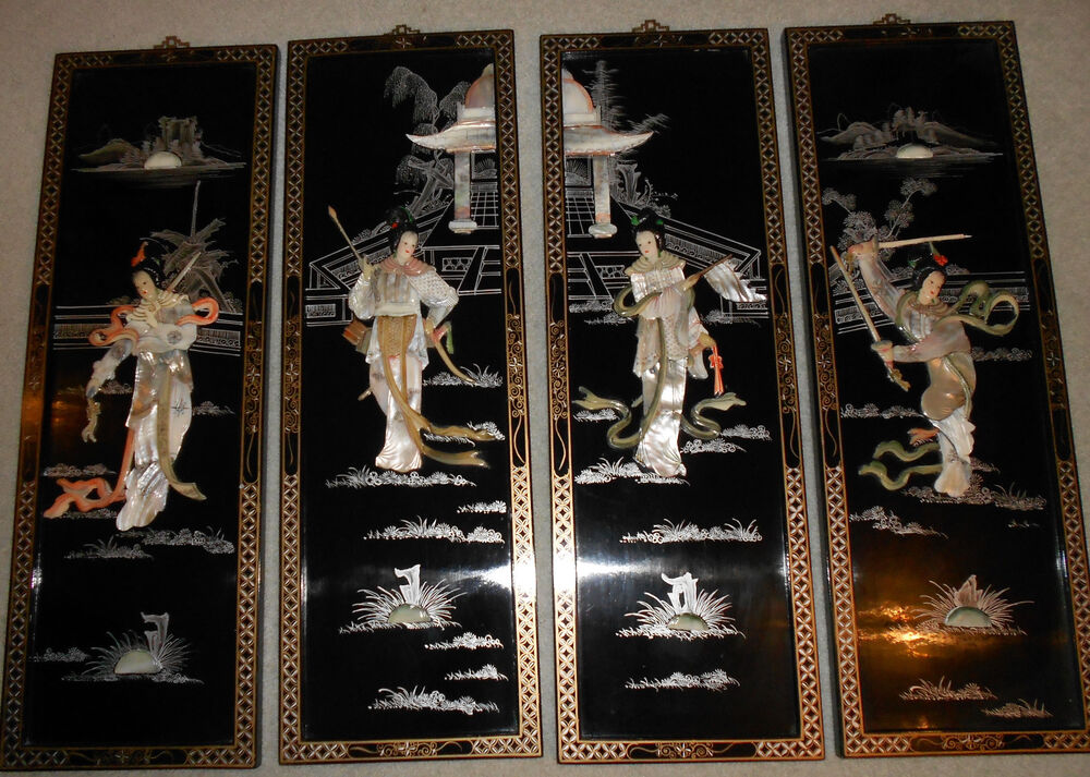 Chinese Decoratives Wall Panels Set Of 4 Mother Of Pearl