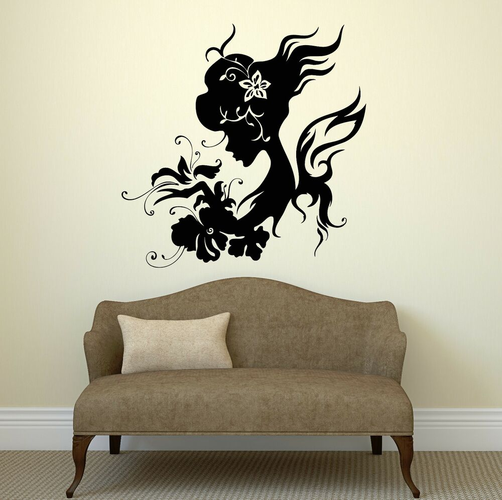 Wall decal silhouette beautiful woman butterfly flowers for Stickers decorativos