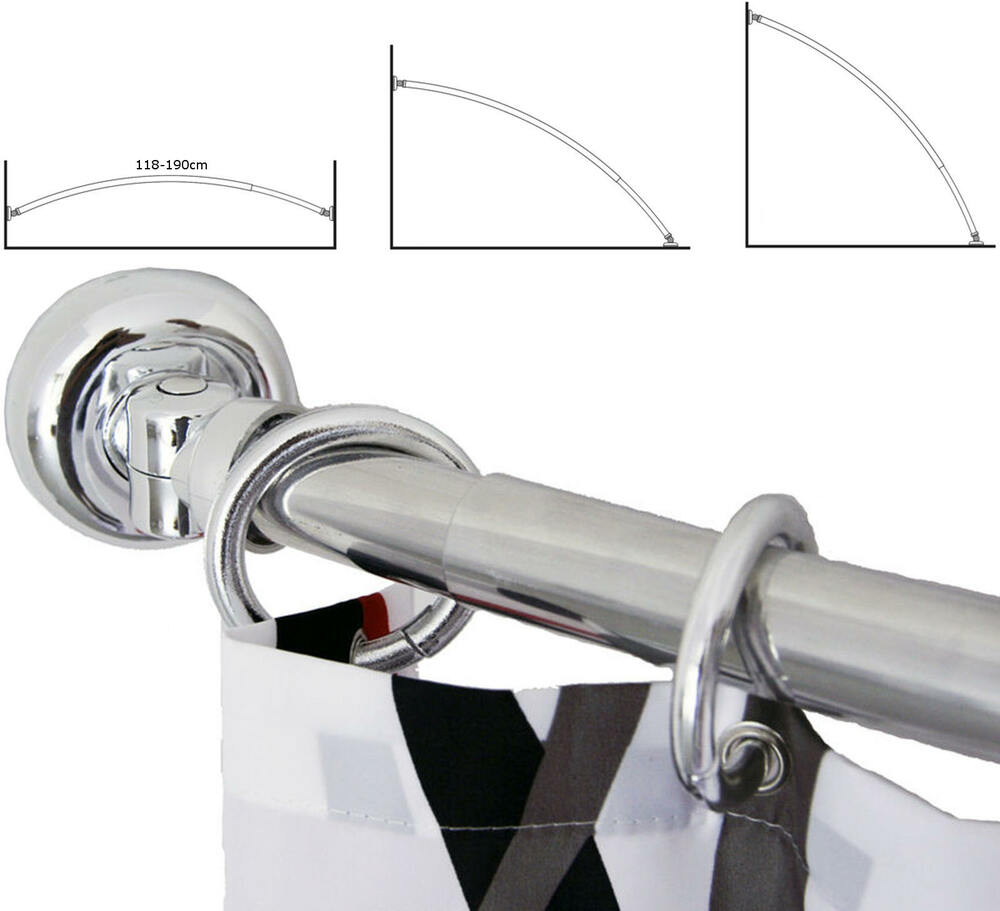telescopic extendable curved rail bath shower curtain pole