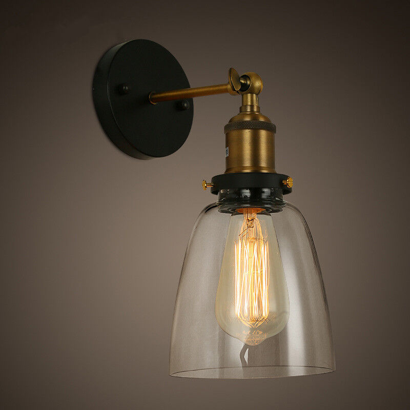 Vintage Wall Lamp Shades : New DIY Loft Industrial Vintage Wall Lamps Glass lamp shade light for bar coffee eBay