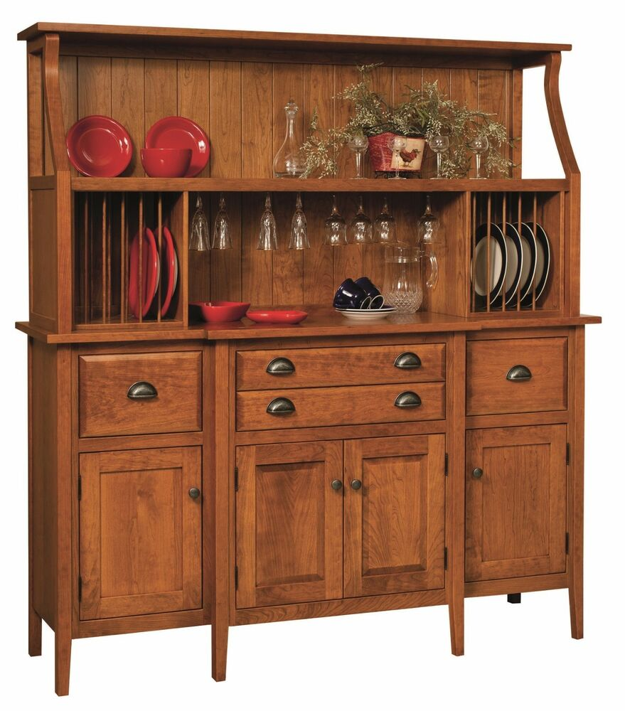 Amish Style Kitchen Cabinets: Amish Shaker Country Hutch Buffet Server China Cabinet