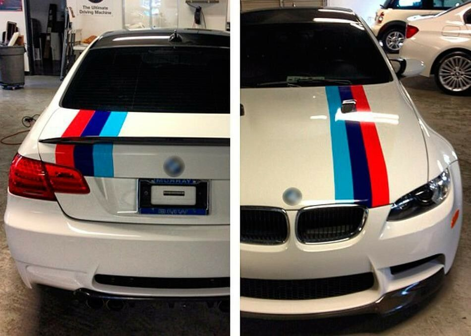 M Colors Stripes Rally Hood Trunk Racing Motorsport Vinyl