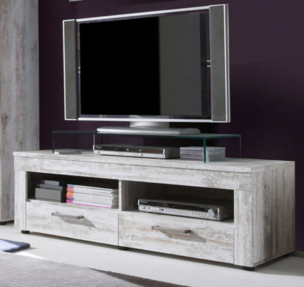 tv tisch lowboard wei shabby vintage pinie hifi tv board fernsehtisch river 135 ebay. Black Bedroom Furniture Sets. Home Design Ideas