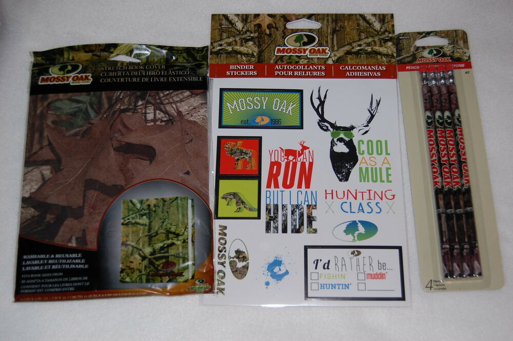 School Book Cover Stickers : Mossy oak camouflage camo school supplies pencils stickers