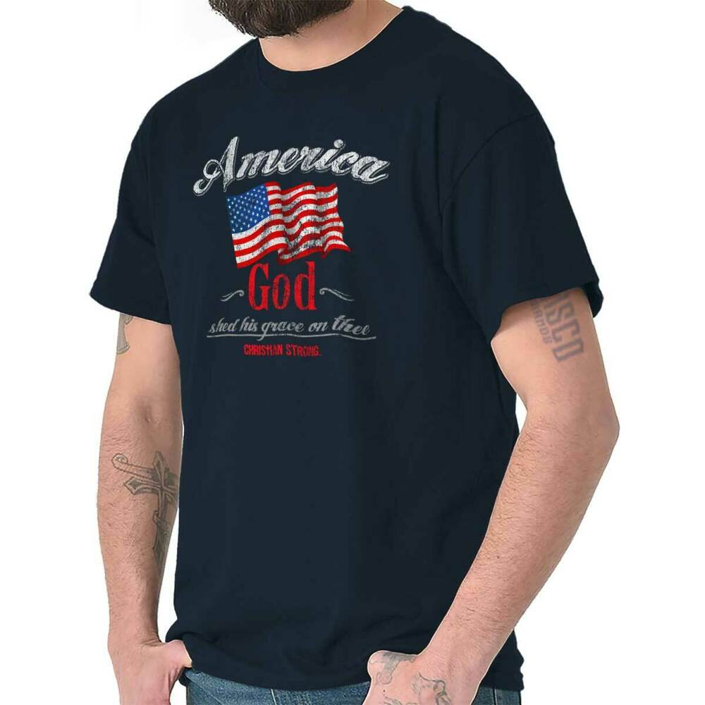 One nation under god christian americana patriotic usa for Veteran t shirts patriotic t shirts