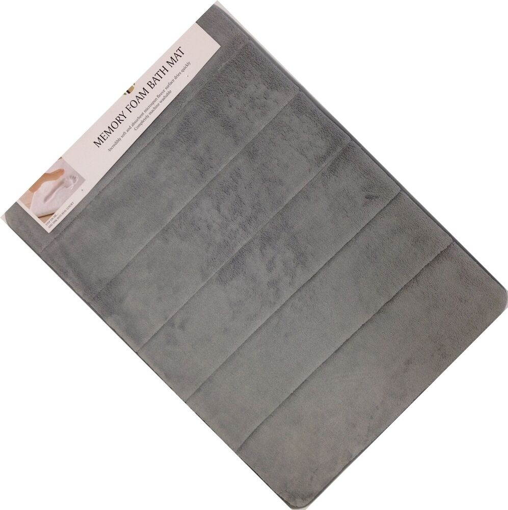 very soft and absorbent memory foam bath mat 20 x 30 gray bathroom rug ebay. Black Bedroom Furniture Sets. Home Design Ideas