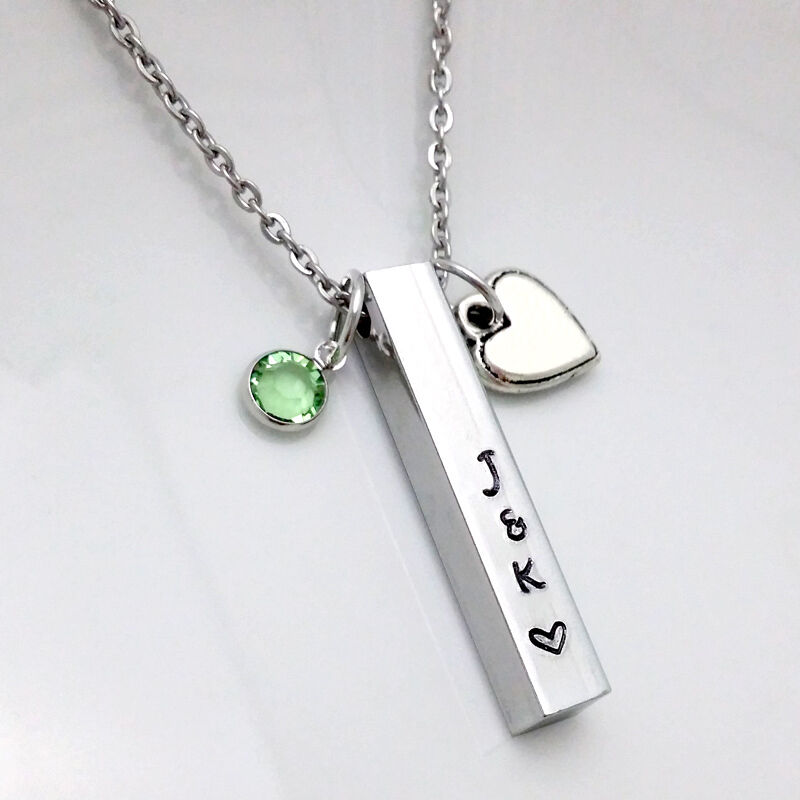 Personalized 18th Birthday Necklace Initial Custom: Personalized Custom Name Engraving Hand Stamped Birthstone