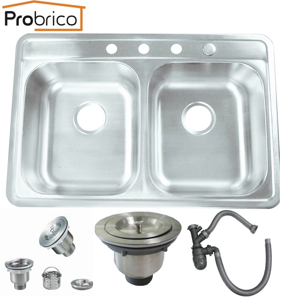 Probrico Top Mount Stainless Steel Drop In Equal Double Bowl Basin Kitchen Sinks Ebay