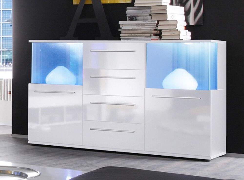 sideboard kommode wei glanz anrichte wohnzimmer schrank led beleuchtung punch ebay. Black Bedroom Furniture Sets. Home Design Ideas