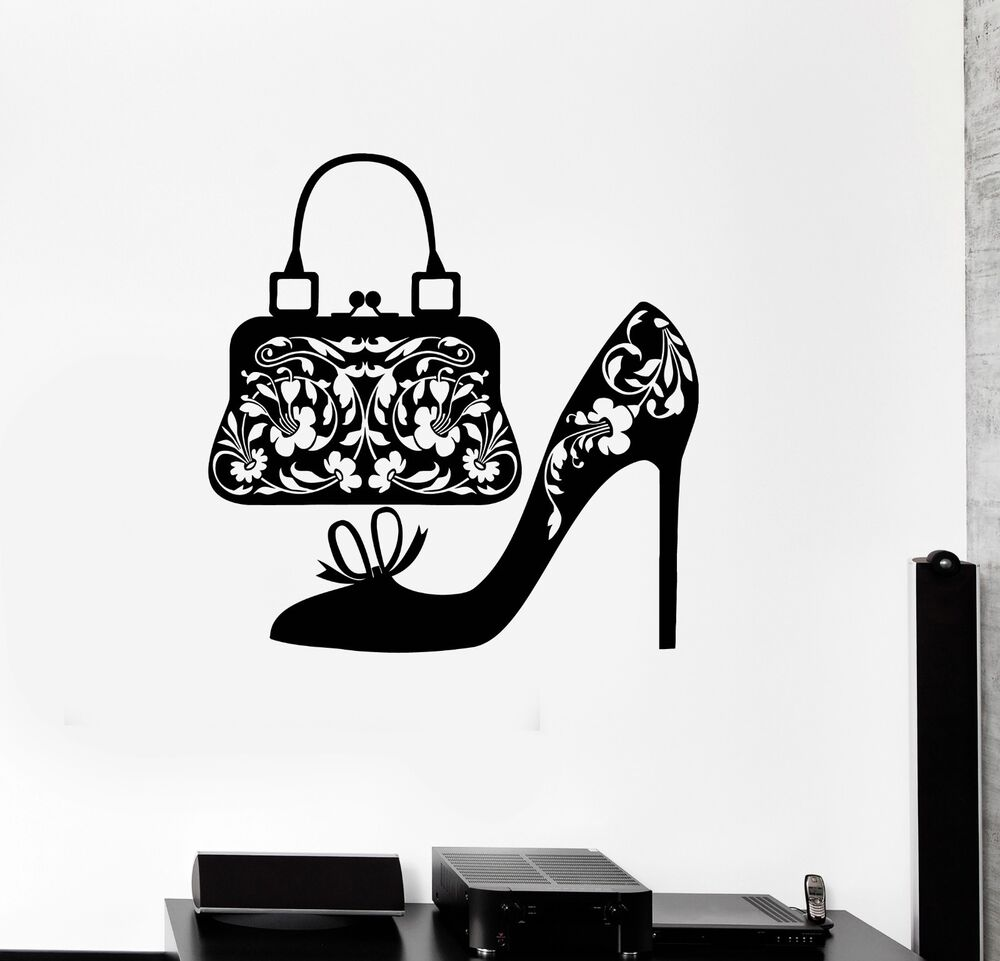 Wall Decal Shoes Women Handbag Fashion Shopping Vinyl Stickers Ig2932 Ebay