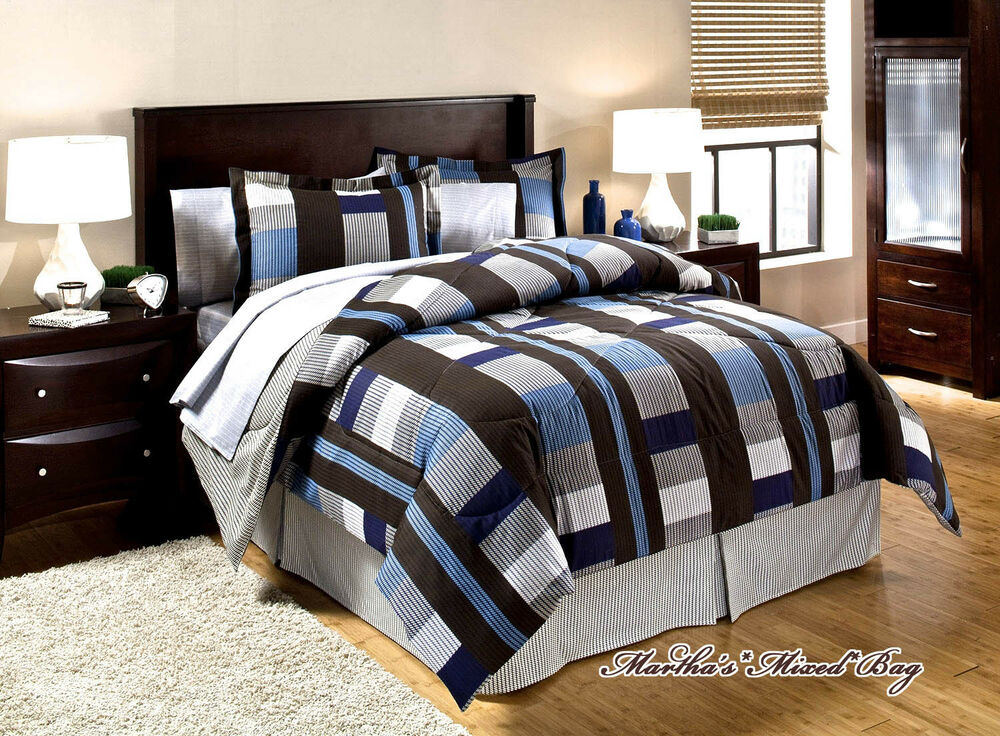 Dorm Bedding Blue Amp Brown Plaid Blocks Men S Masculine 8p