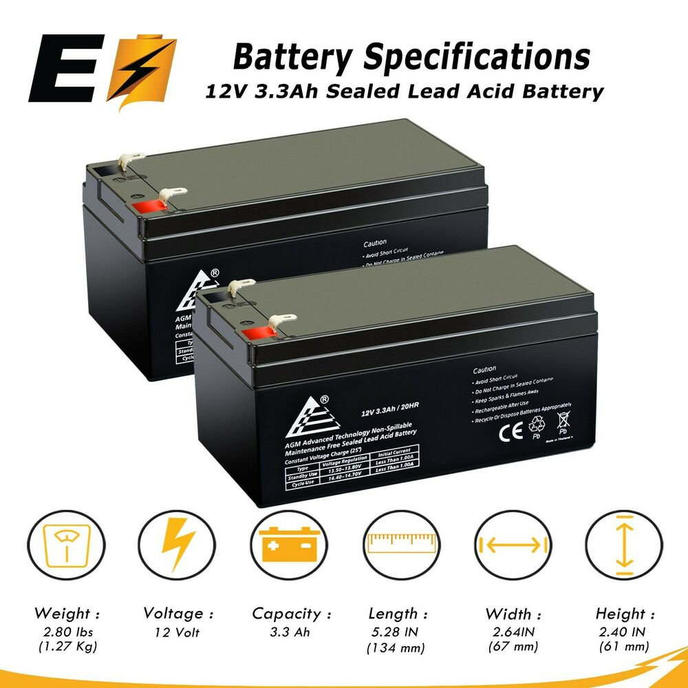 12v 3 3ah sla battery replaces pe12v3af1 ps 1230 ub1234 wp3 12 pack of 2 ebay. Black Bedroom Furniture Sets. Home Design Ideas