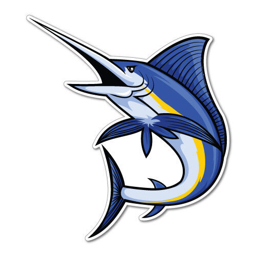 Marlin Fish Sticker Decal Boat Fishing Tackle 4x4 6637en