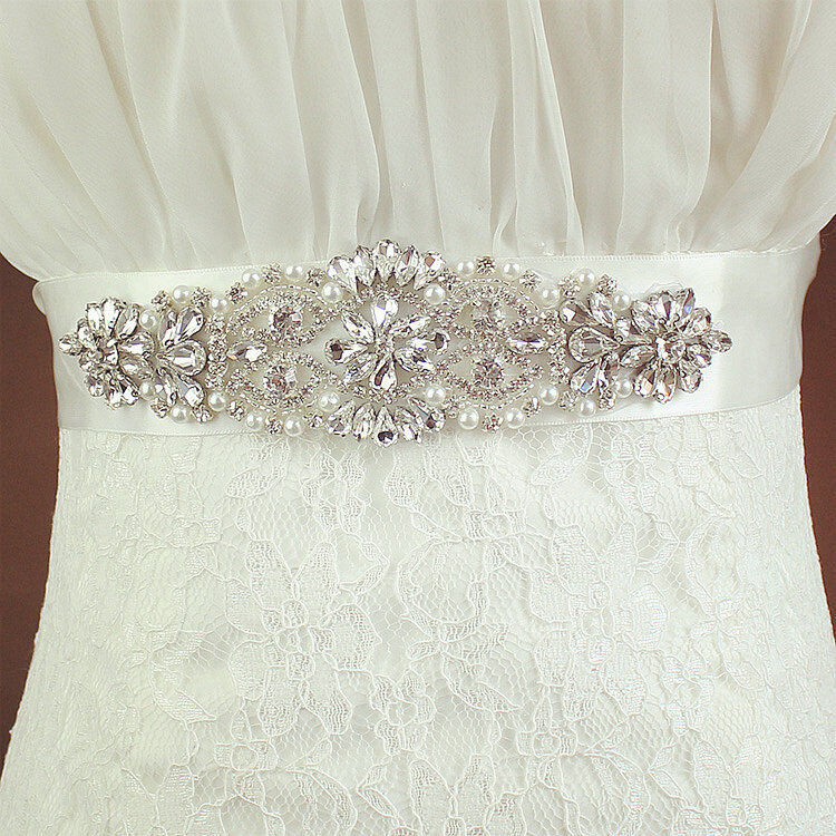 Satin ribbon crystal wedding dress belt rhinestone bridal for Satin belt for wedding dress