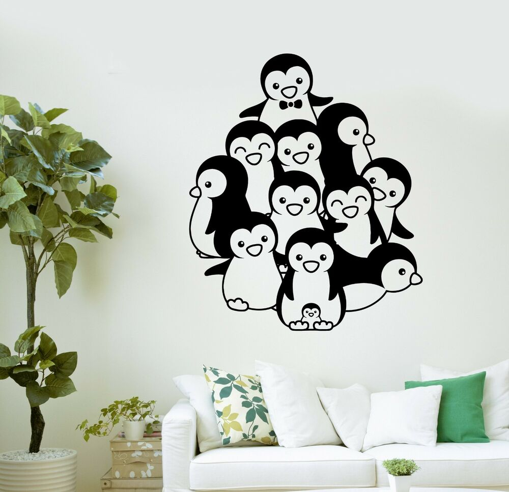 Wall decal cute penguins zoo for kids room decor art vinyl for Room decor stickers