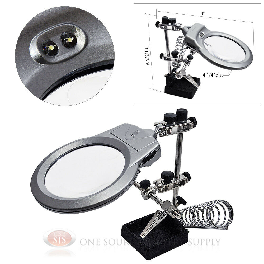 magnifier helping hands free 4x 2x magnifying glass hobby. Black Bedroom Furniture Sets. Home Design Ideas