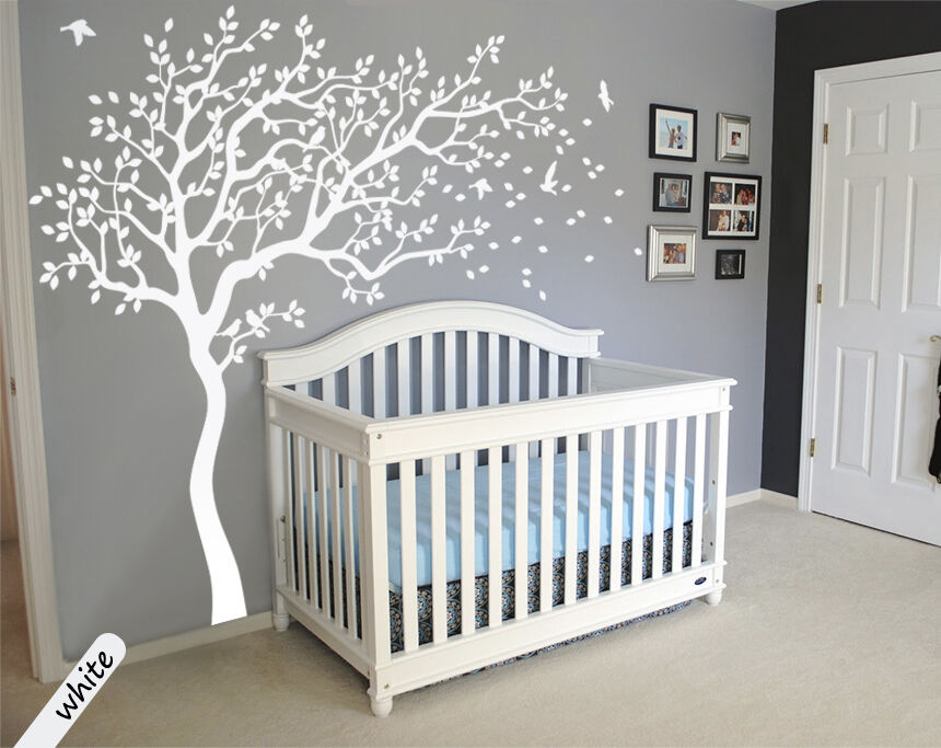 White tree wall decals large tree nursery decoration - Stickers muraux repositionnables bebe ...