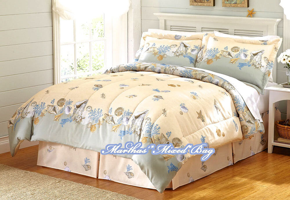 Coastal Seashell Starfish Ivory Blue 4pc Comforter Set