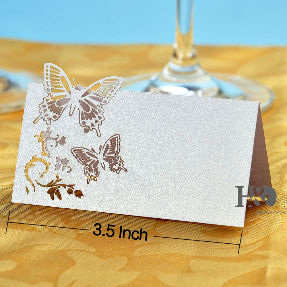 100 white butterfly laser cut table name place cards for Table place cards