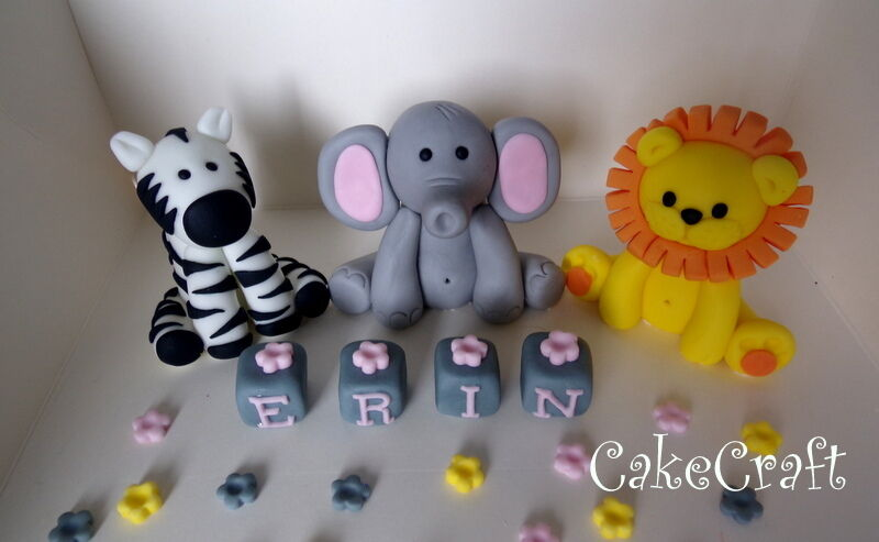 Edible Elephant Cake Decorations : Jungle Elephant, Zebra, Lion Birthday Edible Handmade cake ...