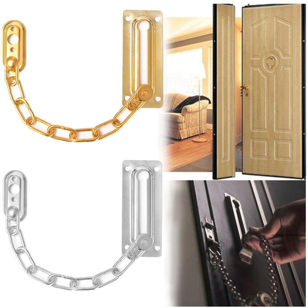 Satin Chrome Finish Chain Door Guard Security Lock Cabinet