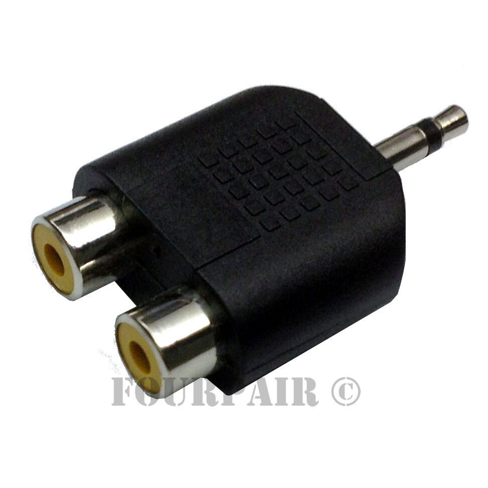 dual rca female jacks to 1 8 mono male y splitter audio cable adapter ebay. Black Bedroom Furniture Sets. Home Design Ideas