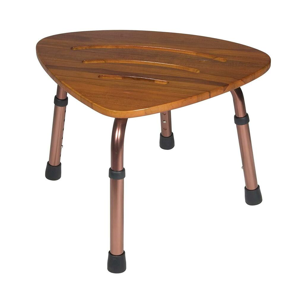 Teak Shower Stool Corner Chair Seat Foot Bench Wood Bath